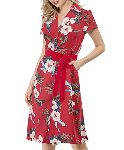 Women's Vintage Floral Print Button Up Party Dress for Wedding Guest, Red-Floral, Small