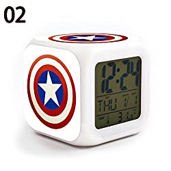 The Avengers Captain America 7 Colors Change Digital Alarm LED Clock Cartoon Night Colorful Toys for Kids (Style 2)