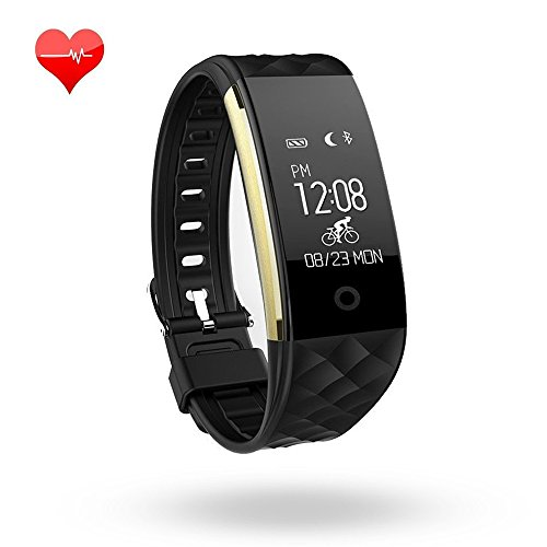 Fitness Tracker Heart Rate Monitor Activity Health Tracker Waterproof Smart Wristband Band with Pedometer Sleep Monitor Step Calorie Counter Bluetooth Bracelet for iPhone Android (Gold/Black)