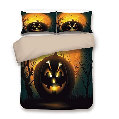Duvet Cover Set,BACK Of Khaki,Halloween,Fierce Character Evil Face Ominous Aggressive Pumpkin Full Moon Bats Decorative,Orange Dark Brown Black,Decorative 3 Pcs Bedding Set by 2 Pillow Shams,Queen ()