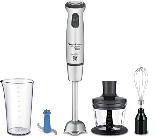 Moulinex Infiny Force Ultimate Cocktail DD87KD10 Batidora de mano con accesorios, 1000 W, 800 Ml, Acero Inoxidable, 25…