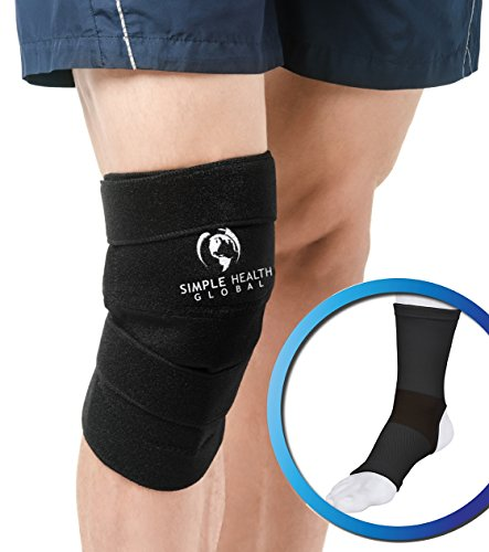 Knee Support Sleeve Wrap By Simple Health, Adjustable Compression Brace for Magnetic Pain Relief with Neoprene ()