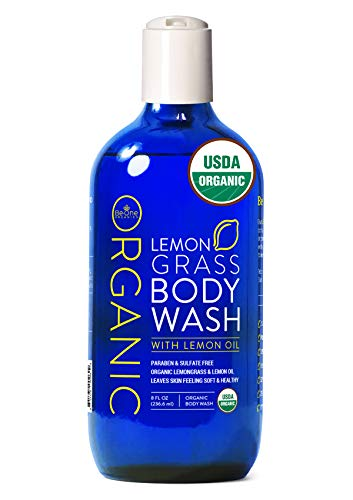 USDA Organic Lemongrass Body Wash by Be-One Organics - Organic Body Wash - Paraben & Sulfate Free - All Natural - Eczema - Sensitive Skin - Made With Essential Oils - For Men & Women - MADE IN USA