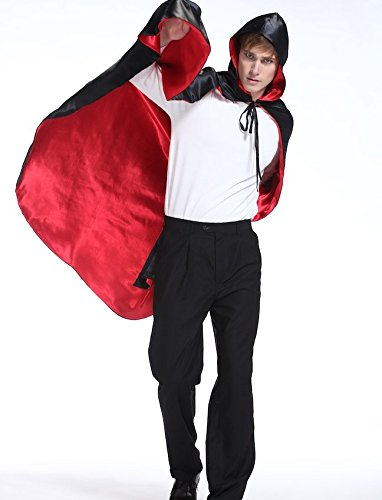 [Halloween Christmas Party Cape Cloak Costume Vampire Bloodsucker Reversible Black Red] (Black Men Halloween Costume)