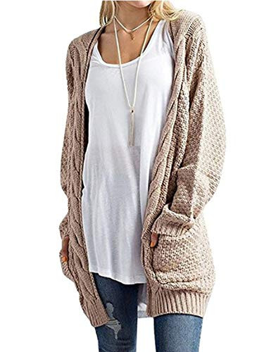 ZHENWEI Womens Sweaters Plus Size with Pocket Cardigan Sweaters Open Front S-3XL