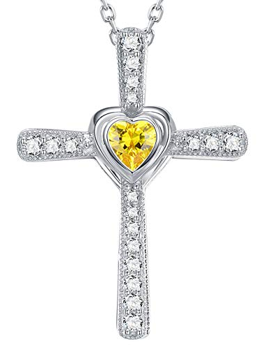 Fine Jewelry Gift Citrine Necklace Love Heart God Pendant Jewelry Birthday Anniversary Gifts for Women for Her for wife and Family Sterling Silver Swarovski Cut Citrine Heart Pendant