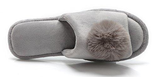Pieds Sentir Pantoufles Pour Femmes Confort Doublure En Velours Semelle Souple Confortable Mignonne Boule Gonflable Maison Chaussons Gris