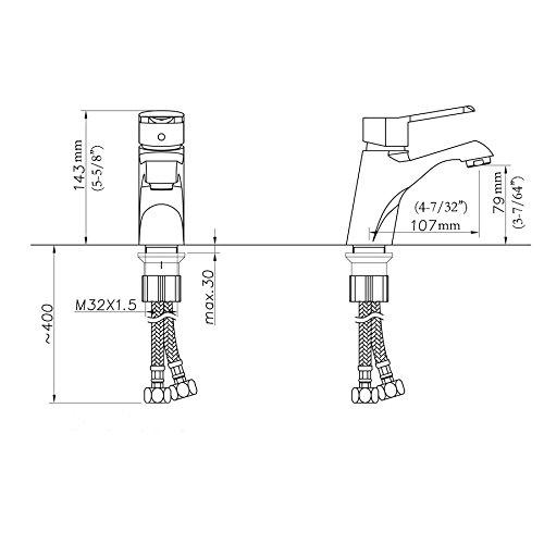 BOEN L2301 Brass Bathroom Faucet Single Lever Handle Lavatory Faucet Finish, Chrome