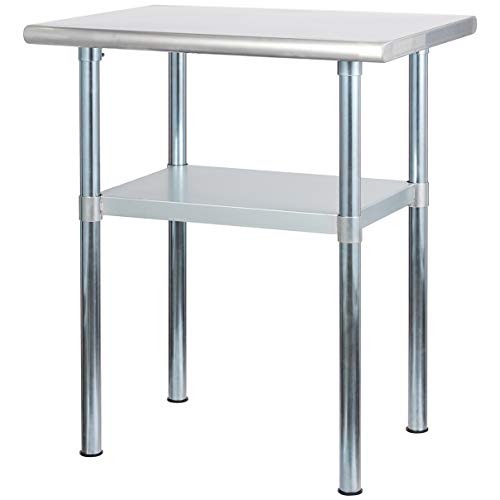 Rockpoint Carmona Tall NSF Stainless-Steel Kitchen Work Table with Adjustable Shelf, 30 x 24 Inch
