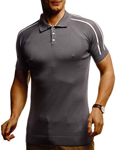 Leif Nelson Herren Basic Poloshirts Sommer T-Shirt Polo Shirts Slim Fit aus Feinstrick Cooles weißes schwarzes Männer Polo-Shirts Jungen Kurzarmshirt Kurzarm LN7365