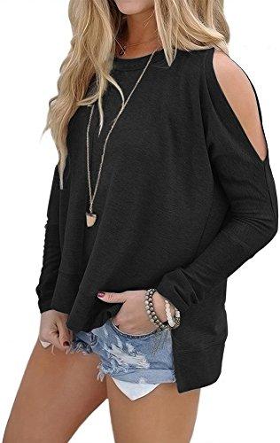 Kuraki Women's Cold Shoulder Long Sleeve Jersey Tops Sweater Shirt medium black