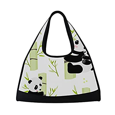 5ff24bece1d1 MAPOLO Pandas On Bamboo Sports Duffel Bag Travel Carry On Gym Bag 60 ...