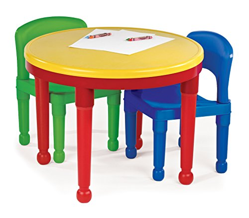 Tot Tutors Kids 2-in-1 Plastic LEGO-Compatible Activity Table and 2 Chairs Set, Primary Colors by Tot Tutors (Image #3)