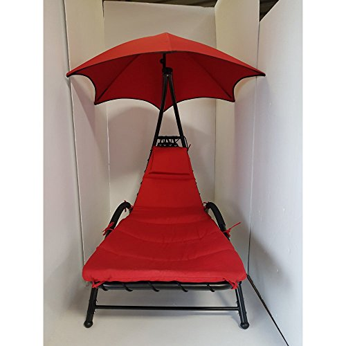 Dura Housewares 4152 Belmont Metal Lounge Chair with Canopy and Pillow, Red by Dura Housewares