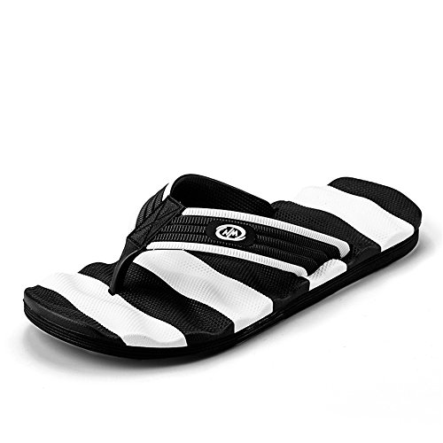 Wear Size amp;Baby Sandals Sunny Black Flip 5MUS Color Slipper Massage Leisure White Flop Thong Resistant Beach Men's 7 ZvqdwHv