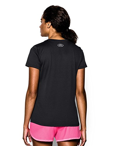 Under Armour Women's Tech V-Neck, Black /Metallic Silver, Small by Under Armour (Image #1)