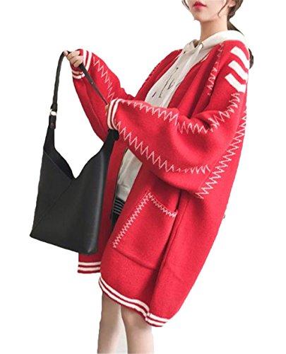 JIANGWEI レディース セーター ニットコート ロングコート カーディガン ゆったり 学院風 おしゃれ ファッション
