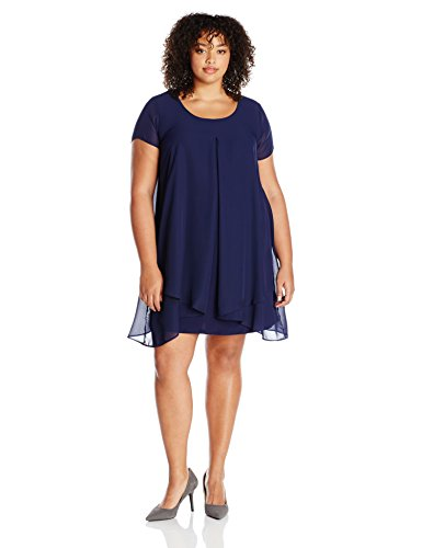 NY Collection Women's Plus Size Solid Cap Sleeve Layed Sharkbite Hem Layered Dress, Navy Mixcombo, 1X (Plus Size Dress Layered)