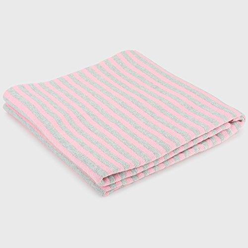(Pluchi Zoey Light Pink & Vanilla Grey Melange 100% Cotton Knitted Supersoft Nursery Baby Blanket Throw 0-2years 32x40'' (80x100cm) Stroller Receiving Blanket Oeko-Tex Certified Machine Washable )