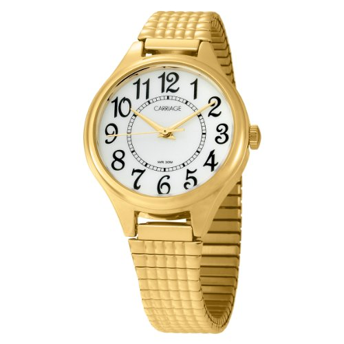Case Gold Tone Band - Carriage Women's C3C238 Gold-Tone Round Case and Stainless Steel Expansion Band Watch