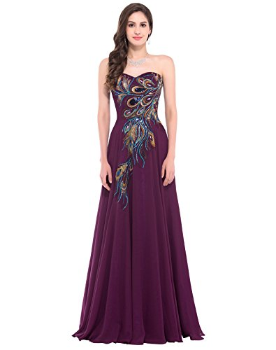 Women Satin Bridesmaid Dress Maxi Evening Prom Dresses Size 10 Purple CL675-3 (Peacock Party Dress)