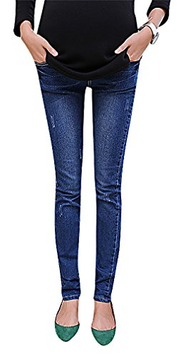 US&R, Women's Blue Straight Wash Detail Secret Fit Belly Maternity Skinny Jeans, MidBlue 10 ,Manufacturer(XXL)