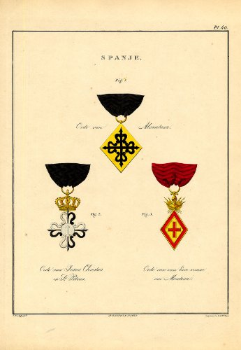 Rare Antique Print-MILITARY ORDERS-SPAIN-ALCANTARA-MONTESA-PL - Of Alcantara Order