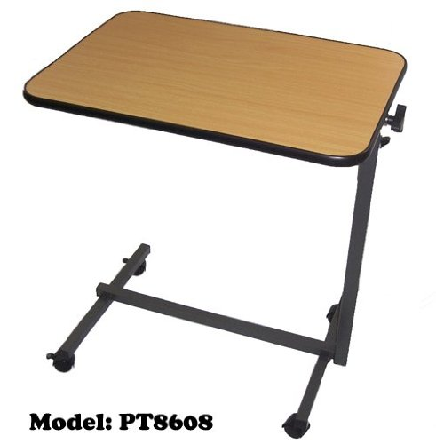 MedMobile Adjustable Tilt Top Overbed Table / Hospital Table With Locking Castors by MedMobile