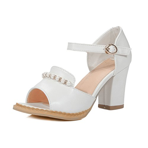 Womens White Urethane Baguette Peep Style Toe Sandals 1TO9 MJS03210 Distressed OPFaqPw