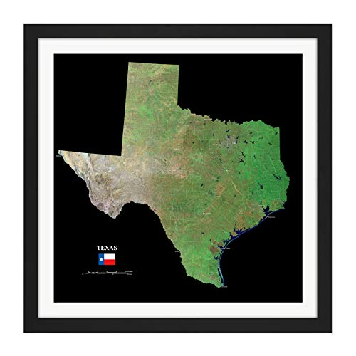 Map County Satellite USA State Flag Texas Old Replica Square Wooden Framed Wall Art Print Picture 16X16 Inch ()