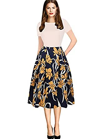 oxiuly Women's Classic Short Sleeve Casual Patchwork Pockets Elegant Cocktail Party Swing Dress OX165 (S, Beige)