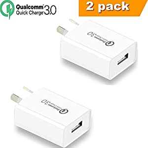 Quick Charge 3.0 with AUS Plug, WQQ 18W Qualcomm USB Wall Charger Adapter with Smart IC, FCC RoHS CE Listed for iPhoneXs/Xs Max/X /8 Plus/8/7Plus/7/6Plus/6/5S,iPad,iPod,Samsung ,HTC,Xiaomi,Huawei,LG and More (2-PACK)