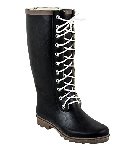 Rugged Shark RAINDEARS Ladies Lace-up Rain Boots in Black (Women Boots Laces)
