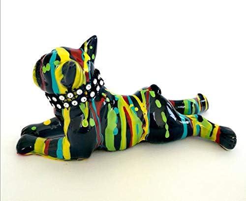 Laure Terrier Statue de Bouledogue Fran/çais couch/é mod/èle Colors Drip en c/éramique D/écoration Longueur 14 centim/ètres