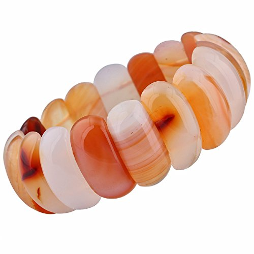 - TUMBEELLUWA Tumbled Stone Semi Precious Oval Beads Stretch Bracelet for Women 7