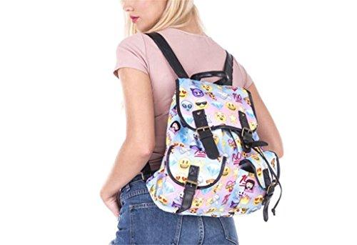 SHFANG Student Double Pocket Rucksack Retro Printing Pink Emoji Expression Tasche Ein Geschenk von einem Kind Mädchen Schule Shopping 36 * 32 * 15cm