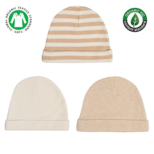 Niteo Organic Cotton Baby Caps, Luxuriously-Soft, All Natural, Dye-Free, 3-Pack