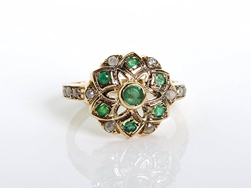Sun Shaped Emerald and rose cut diamonds ring set in 14K yellow Gold
