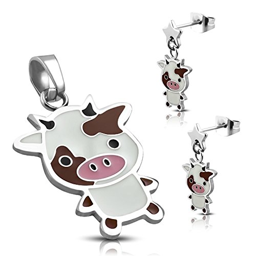 Stainless Steel Enameled Adorable Cow Pendant Charm & Dangle Drop Earrings (Enameled Cow Charm)