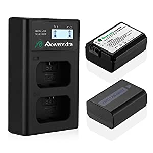 Powerextra 2 Pack Battery and Dual LCD Battery Charger for Sony NP-FW50 and Sony Alpha a6500, a6300, a6000, a7s, a7, a7s ii, a5100, a5000, a3000, a7r, a7 ii, NEX-3, NEX-3N, NEX-5, NEX-5N, NEX-5R, NEX-5T, NEX-6, NEX-7, NEX-C3