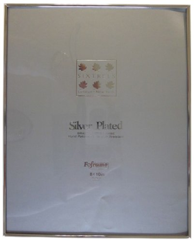 Silver Rim Picture Frame - Sixtrees 2-400-80 8 x 10-inch Cambridge Narrow Rim Solid Brass Silver Plated Photo Frame