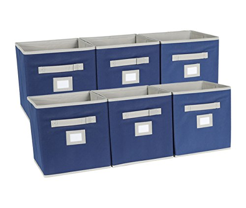 EPG-Life 6 Pack Collapsible Storage Cube Foldable Basket Bins Organization with Label Holder and Dual Fabric Handle, Blue by EPG-Life