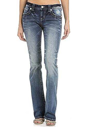 Miss Me Women's Intricate Embroidered Boot Cut Jeans Indigo 26 by Miss Me (Image #1)