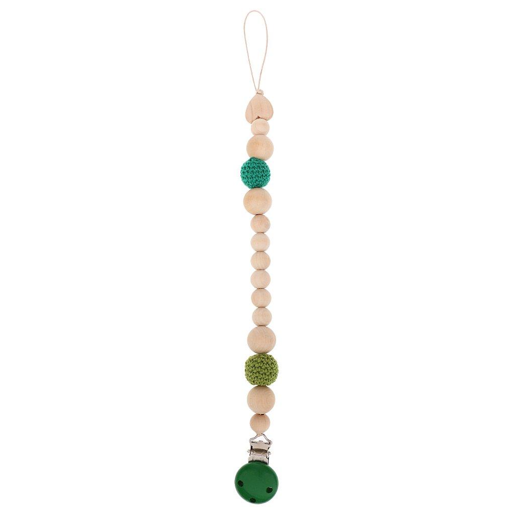 Sharplace Accroche Tétine Bois Perles Bébés Accroche Sucette 7Couleur à Choix - Vert