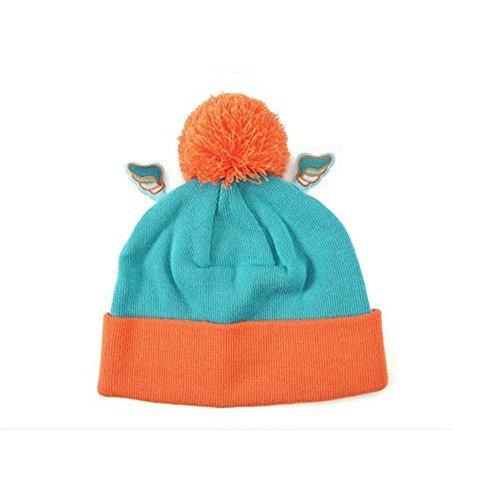MACARON Unisex-Adult Angel Sky Mint Orange Beanie Pompom Hat