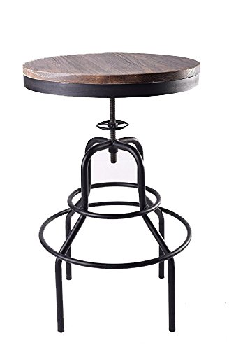 Industrial Adjustable Pinewoodu0026Metal Tea Side Accent End Bar Table