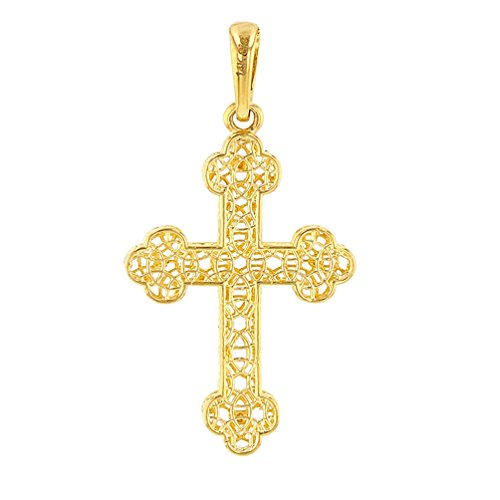 14K Gold Filigree Eastern Orthodox Cross Charm Pendant