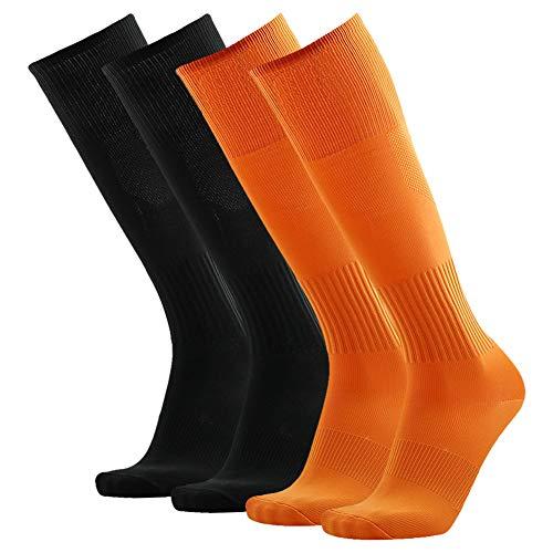 Soccer Socks, Three street Men's Knee High Over Calf Comfort Sport Team Football Compression Socks for Halloween Black Orange 4 Pairs ()