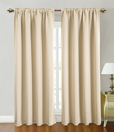 Blackout Curtains Window Panel Drapes for bedroom / living room – 2 Panel Set, 52 by 84 inch each panel, 7 Back Loops per Panel, 2 Tie Back Included, color Beige – Window Rose