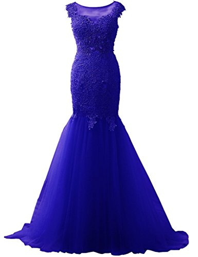 2016 Mermaid Cap Fanciest Women's Long Gowns Prom Lace Royal Blue Sleeve Dresses Evening IZww0x